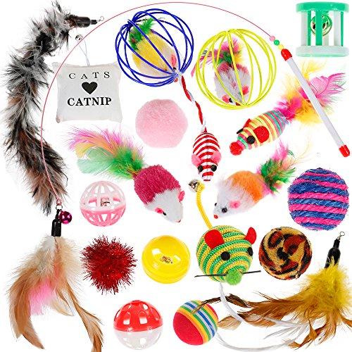 Nabance Katzenspielzeug, 20 Stück - für Hauskatzen, Beschäftigungsspielzeug für Katzen, Katzen-Ball, Katzen-Feder, interaktives Spielzeug-Set mit Katzenminze für Hauskatzen und Kitten / Katzenwelpen
