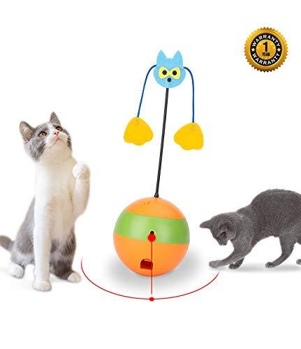Mora Pets Katzenspielzeug Elektrisch Katzen Spielezeug Interaktives Katzenspielzeug für Katzen BeschäftigungsSpielzeug Ball Automatisches Selbstdrehender 360-Grad-Ball Kitten Spielzeug